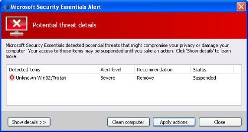 The fake Microsoft Security Essentials Alert snapshot
