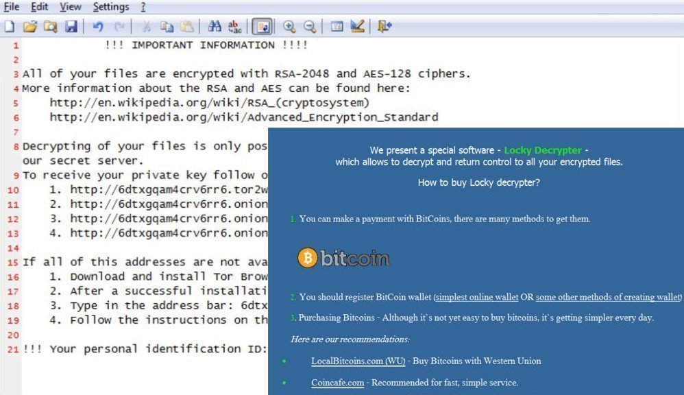 Locky virus and its ransom notes