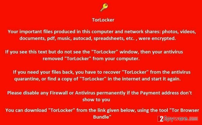 TorLocker virus snapshot
