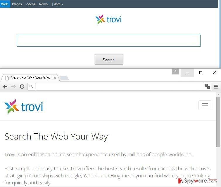 Trovi.com browser hijacker