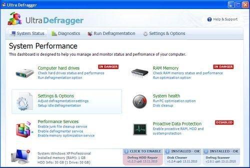 Ultra Defragger snapshot