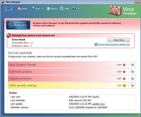 Virus Sweeper snapshot