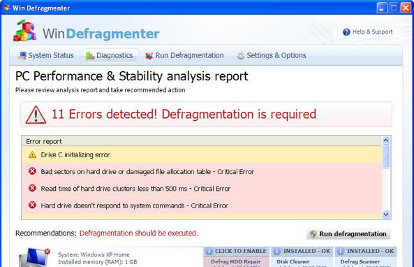 Win Defragmenter snapshot