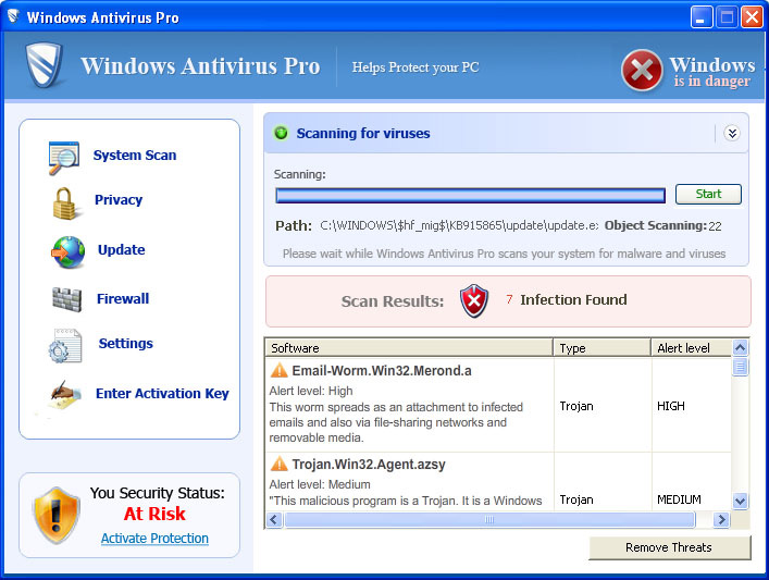 Windows Antivirus Pro snapshot