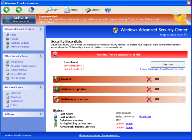 Windows Attacks Preventor snapshot