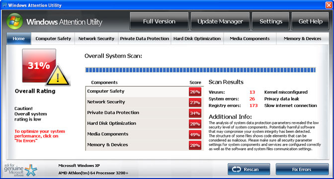 Windows Attention Utility snapshot