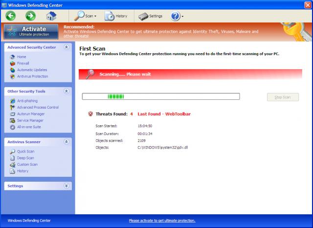 Windows Defending Center snapshot