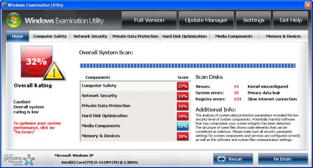 Windows Examination Utility snapshot