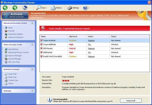 Windows Functionality Checker snapshot