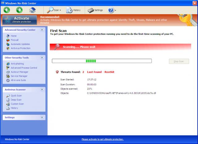 Windows No-Risk Center snapshot