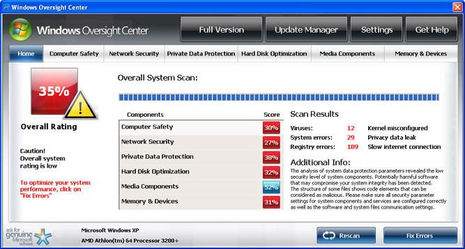 Windows Oversight Center snapshot