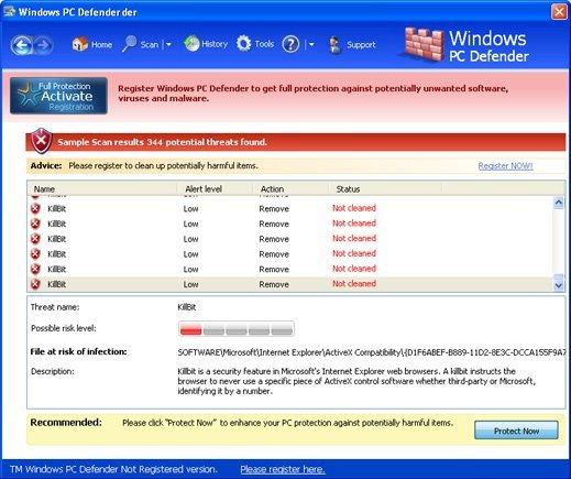 Windows PC Defender snapshot