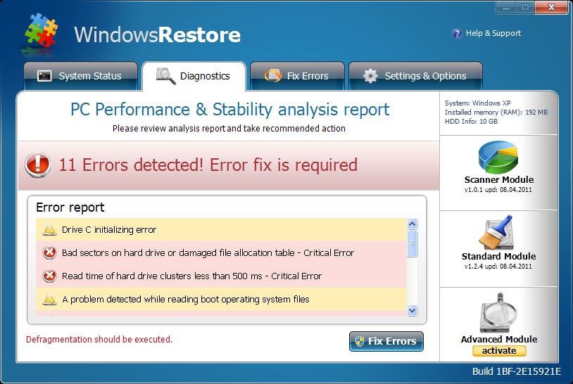 Windows Restore snapshot