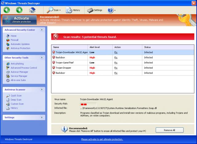 Windows Threats Destroyer snapshot