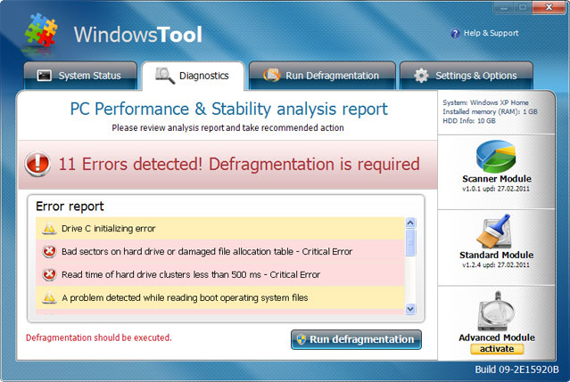 Windows Tool snapshot