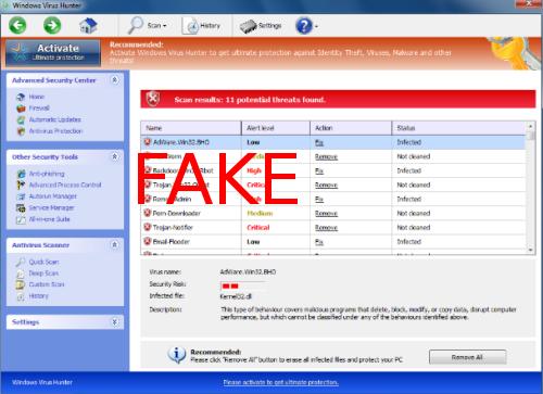 Windows Virus Hunter snapshot