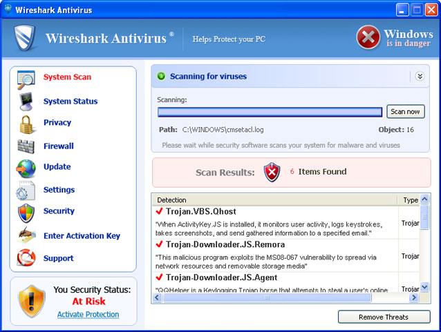 Wireshark Antivirus snapshot