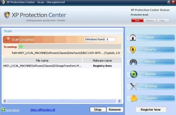 XP Protection Center snapshot
