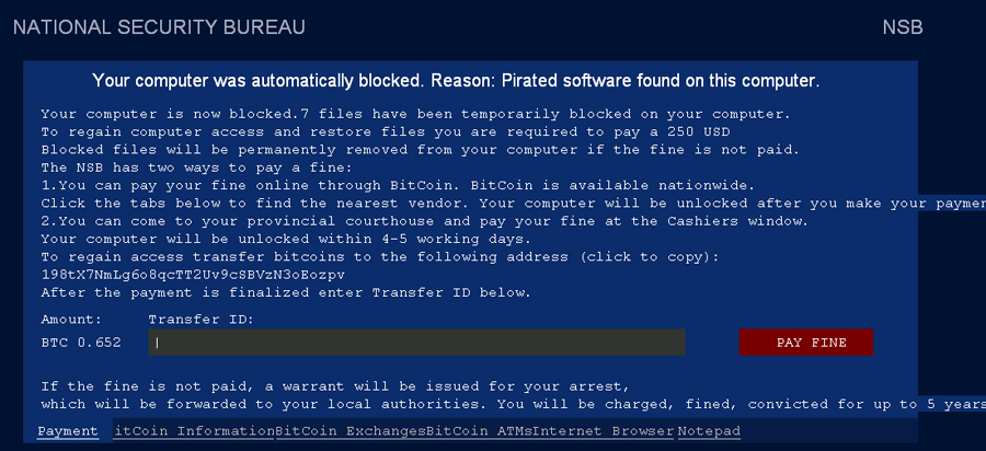 Your Computer Was Automatically Blocked virus snapshot