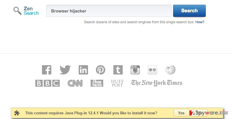 ZenSearch.com hijacker changes user's homepage in all main web browsers