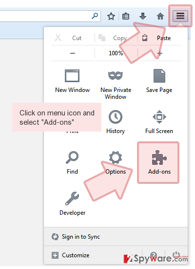 Click on menu icon and select 'Add-ons'