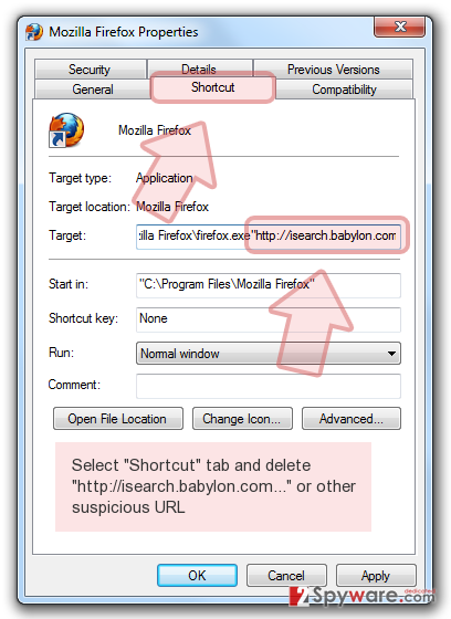 Select 'Shortcut' tab and delete 'http://isearch.babylon.com...' or other suspicious URL