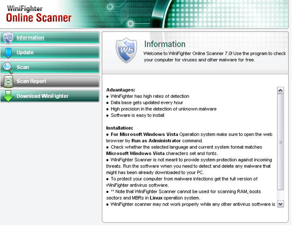Screenshot of WiniFighter online scanner
