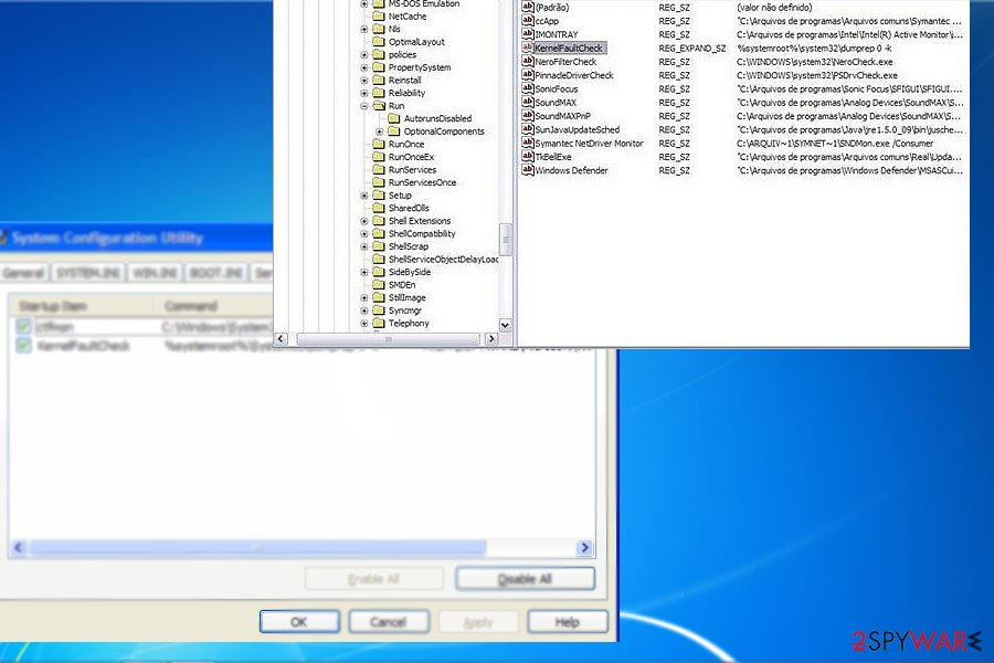The image displaying KernelFaultCheck registry entry