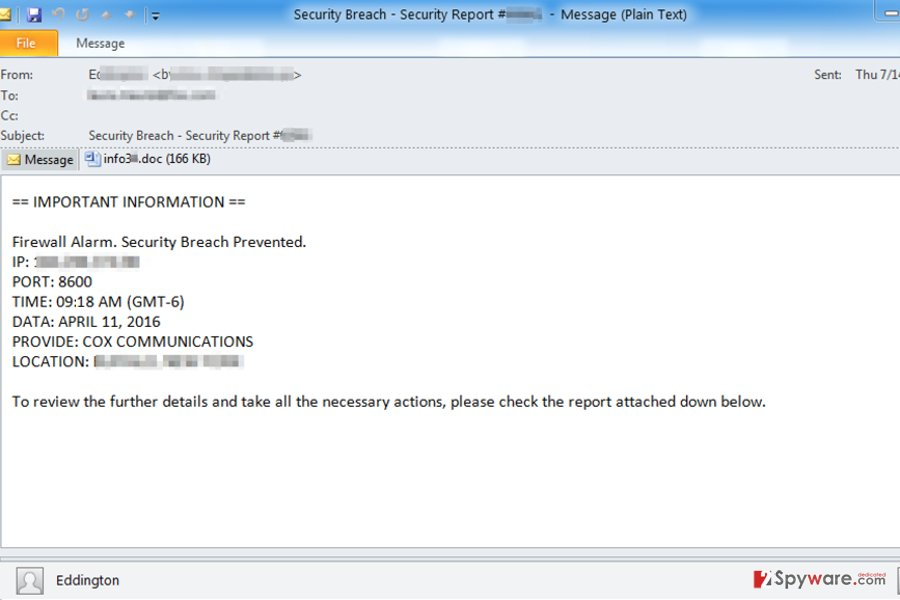 Phishing emails delivering ransomware