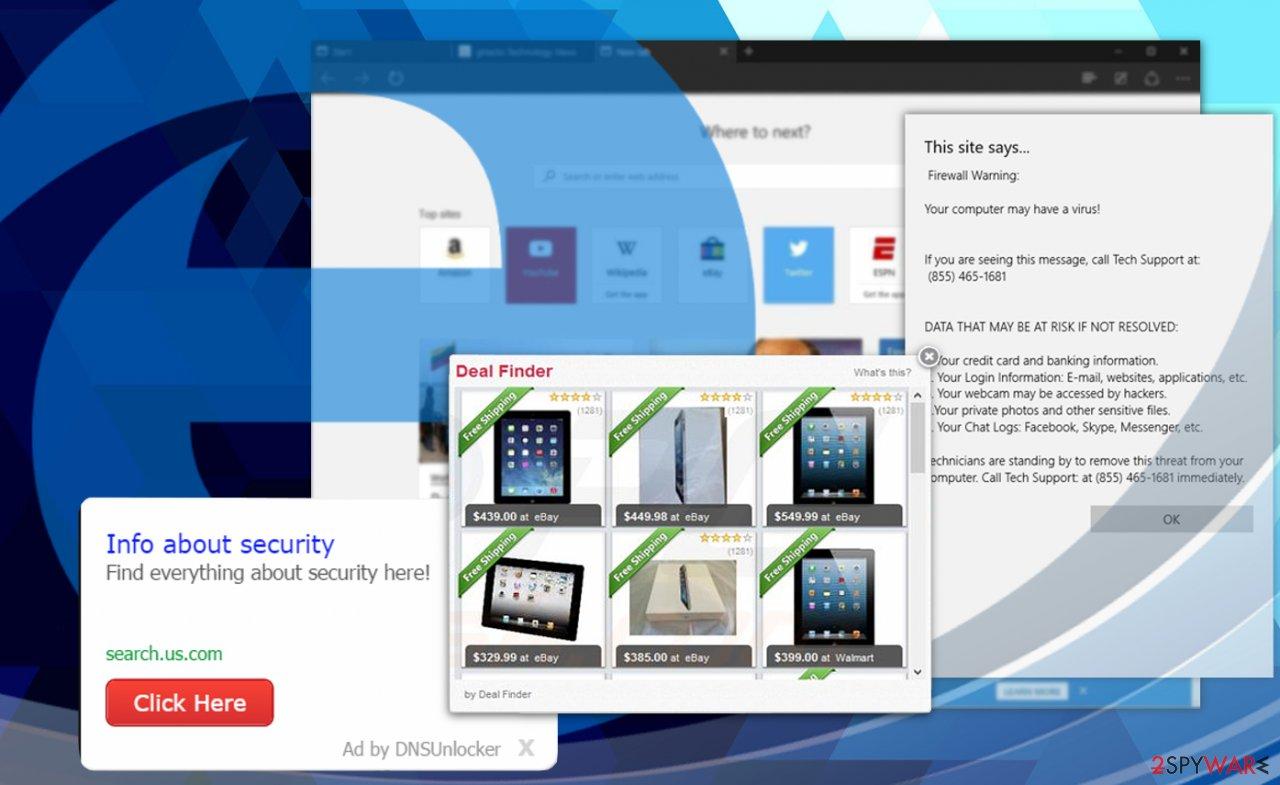 Ads on Microsoft Edge browser
