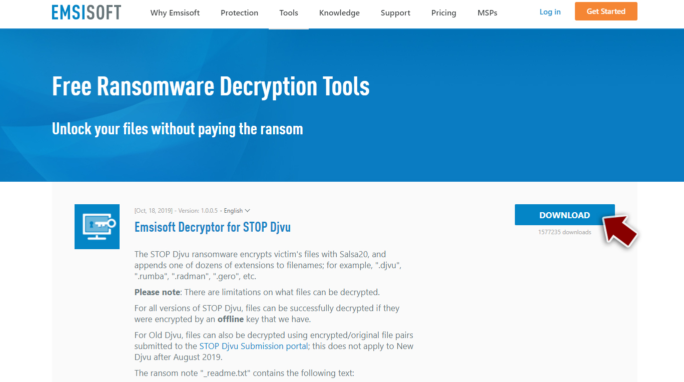 Download Djvu/Stop decryptor from Emsisoft