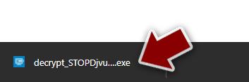 Click on decrypt_STOPDjvu.exe