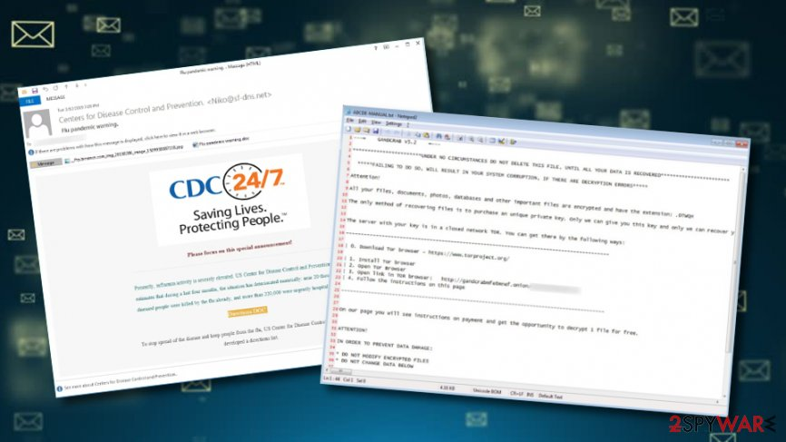 Gandcrab 5.2 spread via false CDC emails warning about Flu pandemic