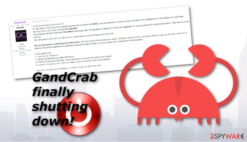 Crooks ending GandCrab ransomware operation after earning $2 billion