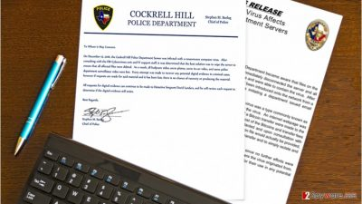 Image of the Osiris ransomware and Texan police