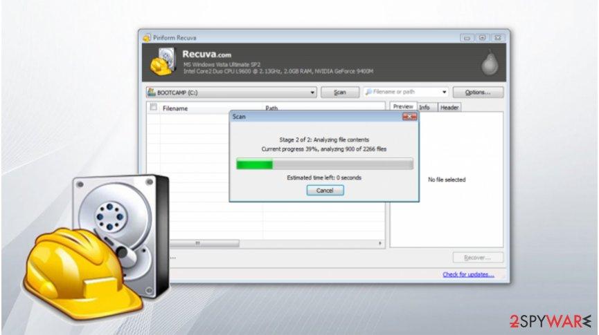 Piniform Recuva software