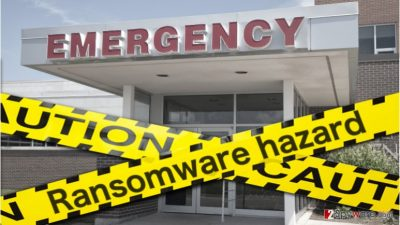 Image of ransomware attacking hospitals