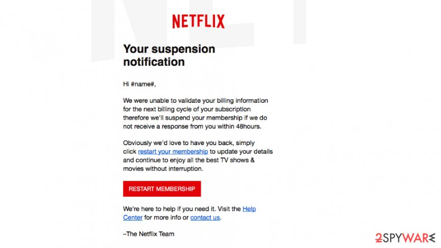Screenshot of Netflix scam email