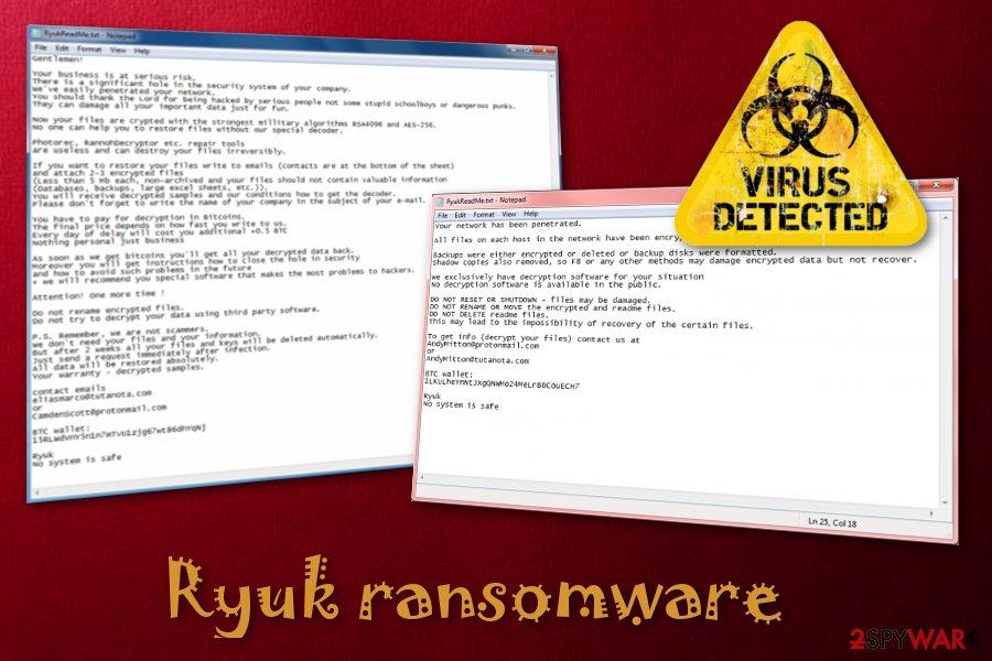 Several organizations face the cruelty of Ryuk ransomware