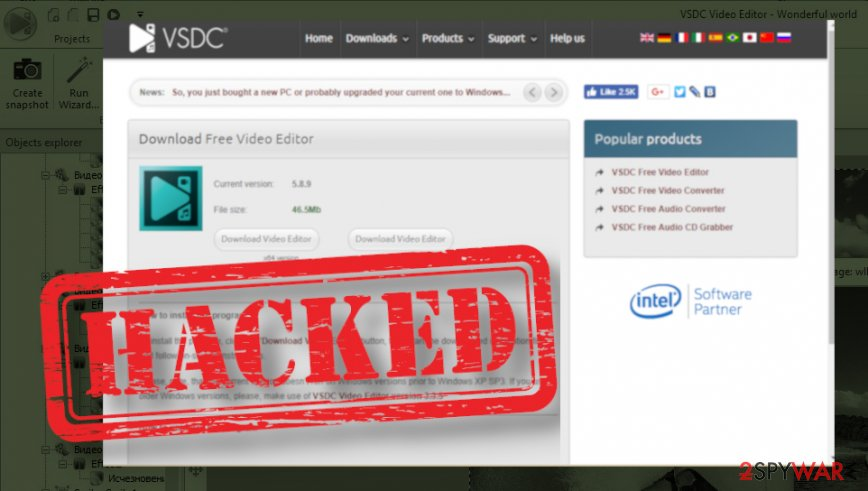 VSDC video editor website hacked