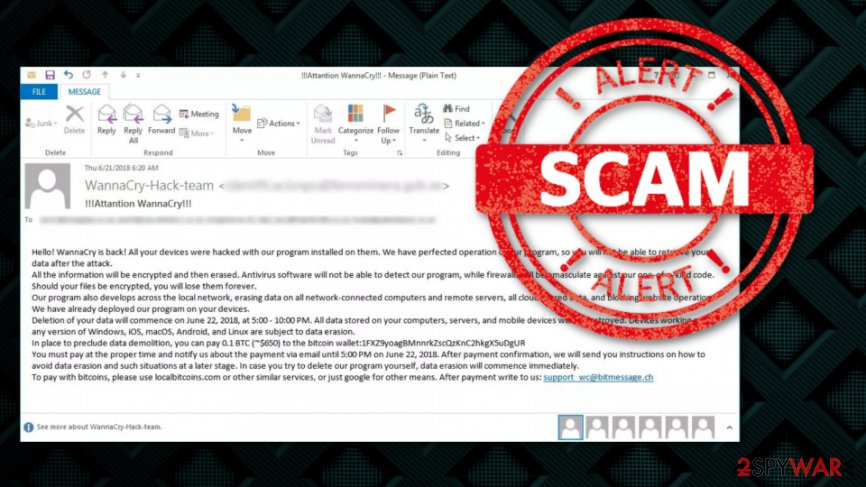 WannaCry attack scam