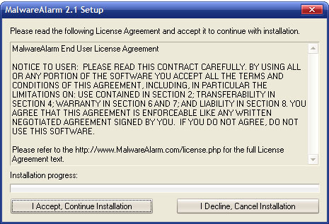 Malware Alarm snapshot