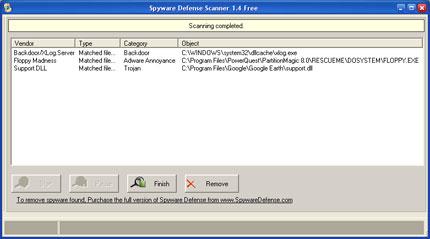 Spyware Defense snapshot