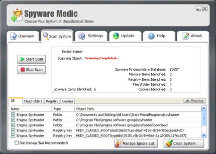 Spyware Medic snapshot