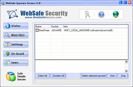 WebSafe Spyware Secure snapshot