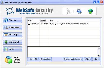WebSafe Spyware Secure snapshot