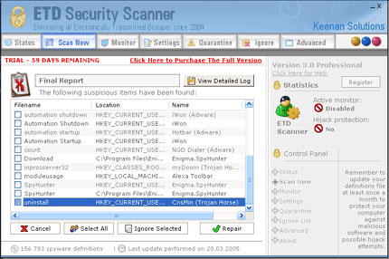 ETD Security Scanner snapshot