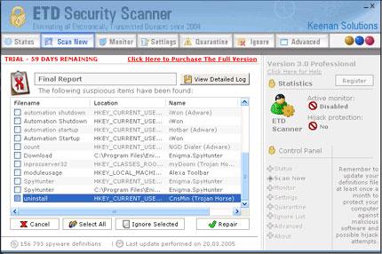 ETD Security Scanner snapshot