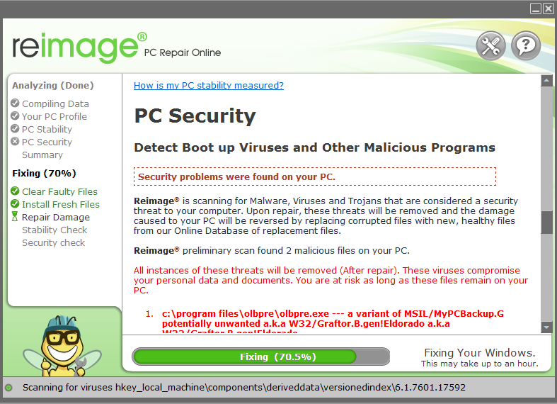 Reimage scan with security issues revealed