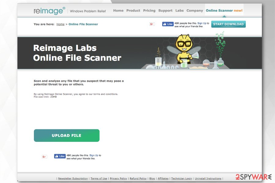 Reimage Plus offers free online file scanner